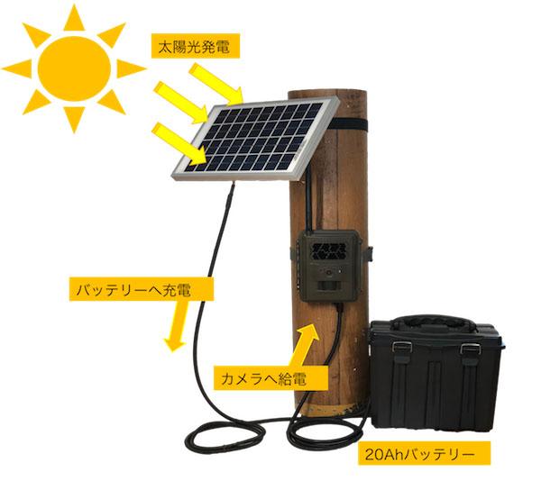 ソーラーパネル+大容量バッテリーで長期稼働を実現